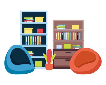 office bookshelf bean chairs furniture vector illustration Foto de archivo - 129288305