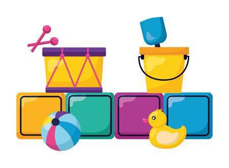 kids toys cubes duck ball drum bucket shovel vector illustration