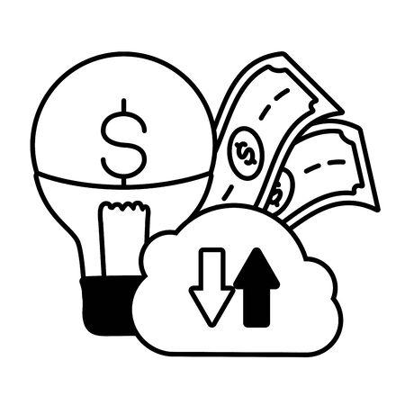 cloud computing bulb money online payment vector illustration Иллюстрация