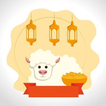 ramadan kareem lanterns with sheep vector illustration design