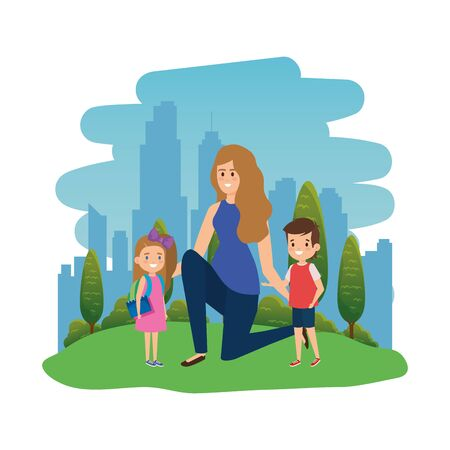 students kids with female teacher in the landscape r vector illustration design Stock Illustratie