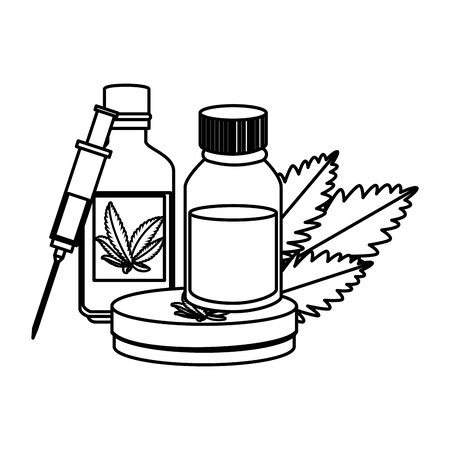 cannabis oinment with syringe and leafs vector illustration design