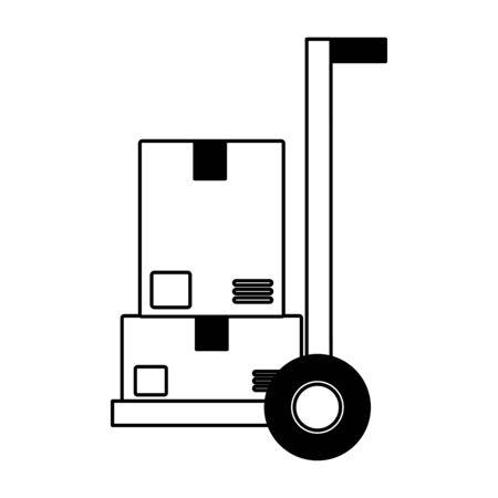 handcart cardboard boxes fast delivery vector illustration