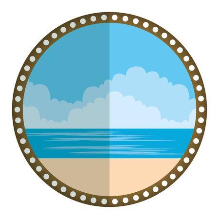circular frame with summer beach seascape vector illustration design Stockfoto - 129373059