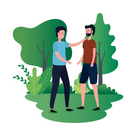 couple of men on the park characters vector illustration design 일러스트