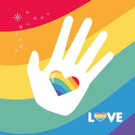 hand heart flag rainbow lgbt pride love vector illustration Çizim