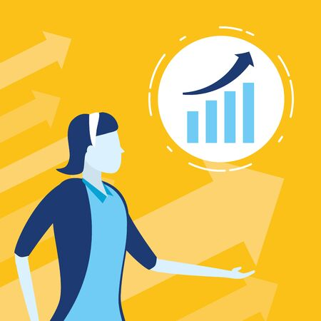 businesswoman chart financial business success vector illustration