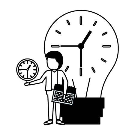 businessman with bulb clock time calendar vector illustration Reklamní fotografie - 129291173