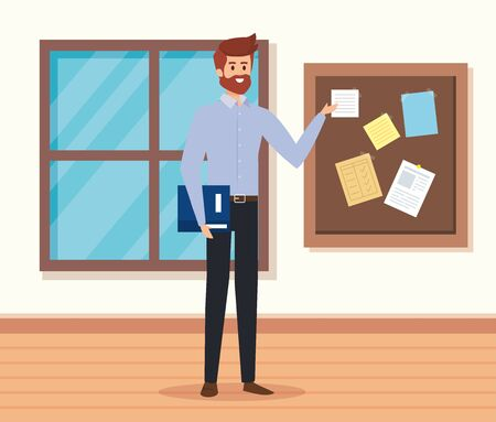 man teacher in the classroom with book and note board to academic education vector illustration Stock Illustratie