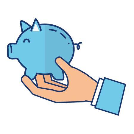 hand with piggy bank saving vector illustration