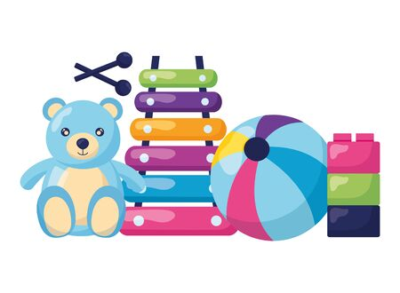 kids toys bear xylophone ball blocks vector illustration