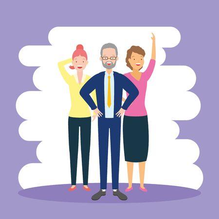 diversity man and woman characters vector illustration Çizim