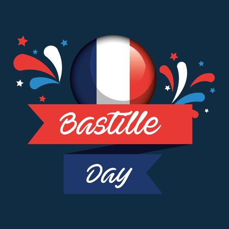 france national flag with ribbon decoration to happy bastille vector illustration Foto de archivo - 129373207