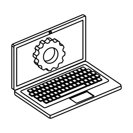laptop computer device with gear settings vector illustration design Ilustrace