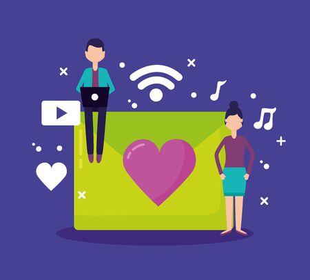 man woman laptop message chatting social media vector illustration Çizim
