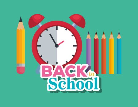 pencil with clock alarm and colors supplies to back to school vector illustration Illustration
