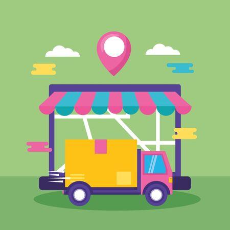 truck laptop map navigation cardboard box fast delivery business vector illustration