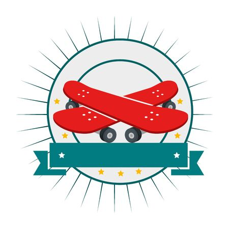 skate boards sport circular emblem vector illustration design Stok Fotoğraf - 129373229
