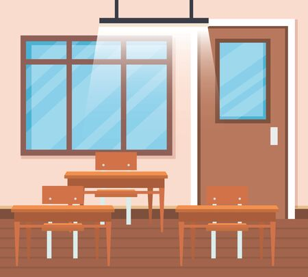 education classroom with desks and window with door to back to school vector illustration