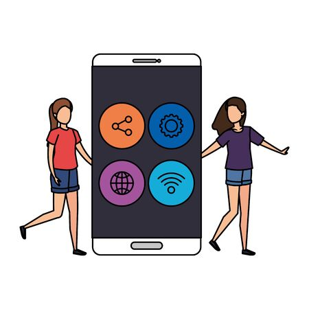 young women with smartphone and social media menu vector illustration 写真素材 - 129373597