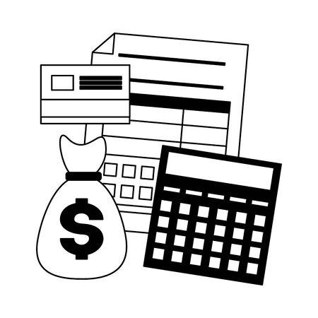 tax payment document calculator money bag bank card vector illustration Foto de archivo - 129315760