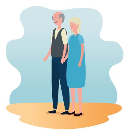 old woman and man with casual clothes and hairstyle to family together, vector illustration