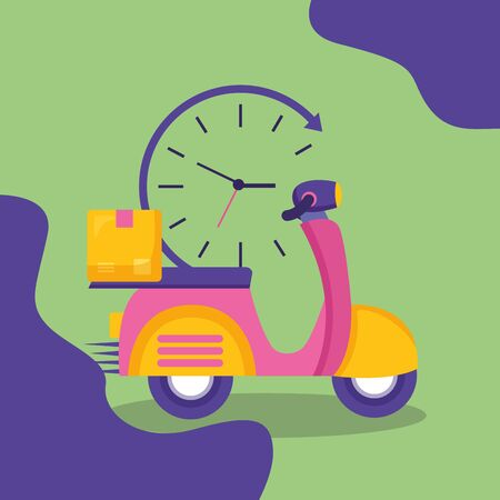 motorcycle box clock fast delivery business vector illustration Zdjęcie Seryjne - 129315763