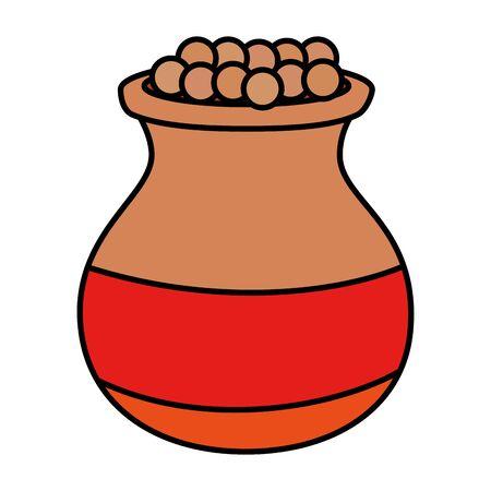 indian ceramic jar with food vector illustration design