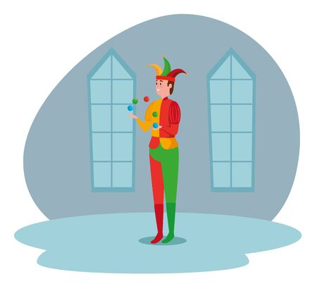 man joker with costume in the castle and windows to tale character, vector illustration