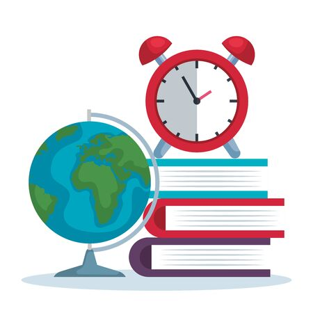 global map with books and clock alarm to back to school vector illustration