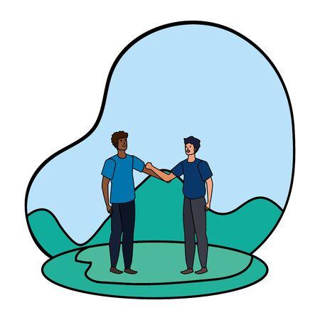 interracial young men friends celebrating in the park vector illustration design Illustration