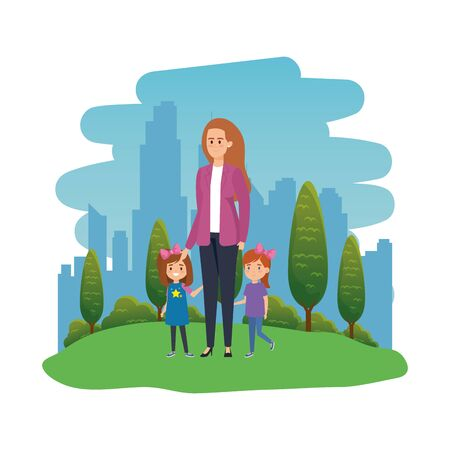 happy students girls with female teacher in the landscape vector illustration