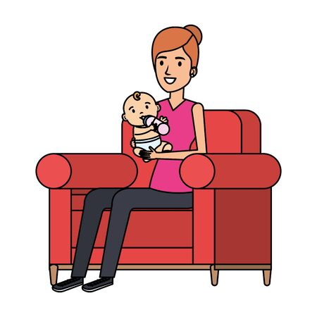 mother lifting little baby seated in sofa vector illustration design Standard-Bild - 129375334