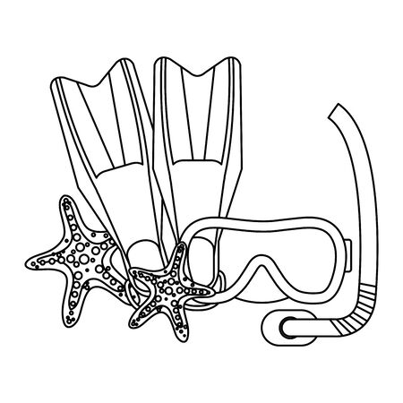 diving snorkel mask and fins with starfish vector illustration design Illustration