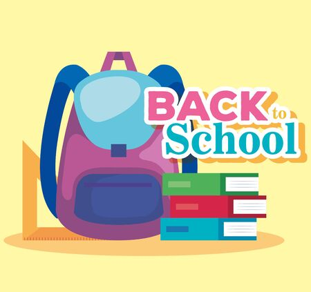 backpack with books and triangle ruler supplies to back to school vector illustration