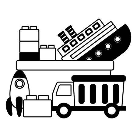 kids toys truck boat rocket blocks bucket vector illustration 向量圖像