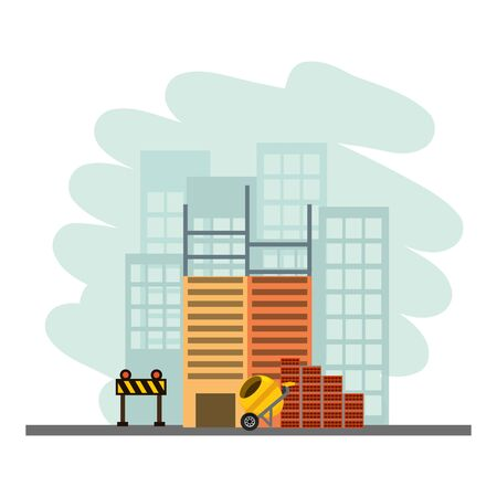 building construction concrete mixer bricks barricade vector illustration