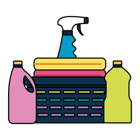 basket laundry spray products spring cleaning tools vector illustration