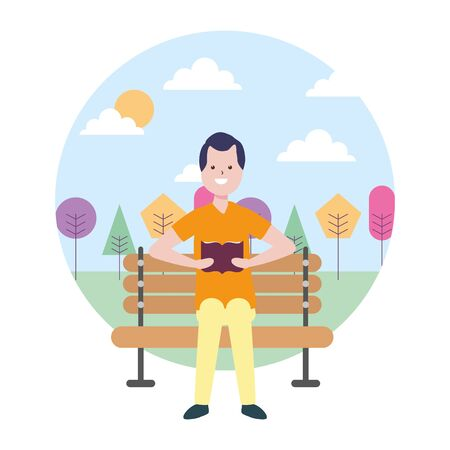 man reading book bench in the park vector illustration