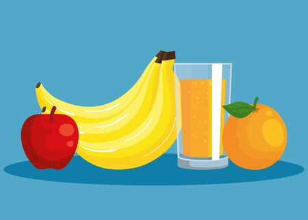 fresh bananas and apple with orange fruit and juice to healthy food vector illustration