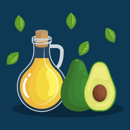 olive oil with avocado fruit and leaves to healthy food vector illustration
