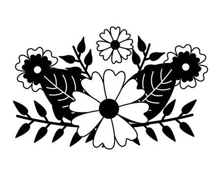 arrangement floral flowers foliage vector illustration design 向量圖像