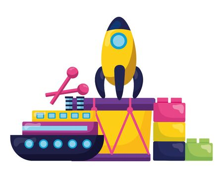 baby toys rocket boat drum blocks vector illustration Illustration