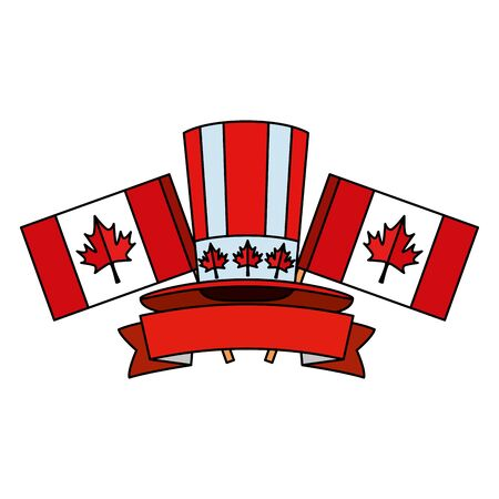 canadian tophat culture with flags frame vector illustration design Ilustrace