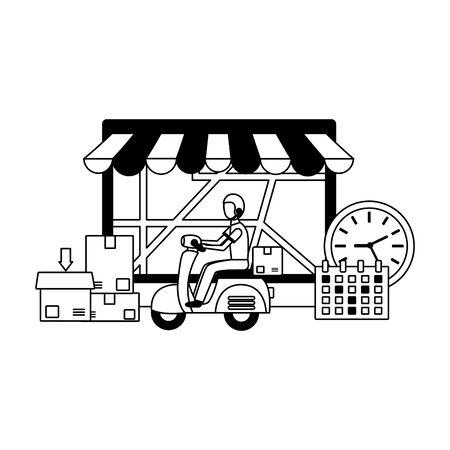 man in motrocycle laptop calendar clock fast delivery vector illustration