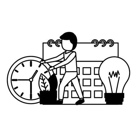 businessman clock calendar creativity time work vector illustration Zdjęcie Seryjne - 129315853