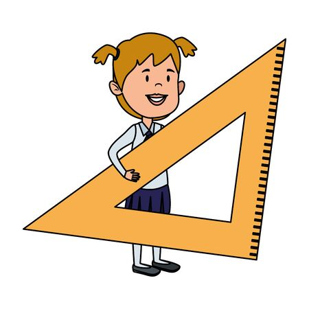 happy student girl with rule triangle vector illustration design