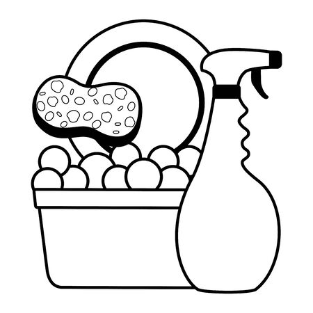 spray bucket dish sponge spring cleaning tools vector illustration