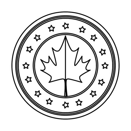 maple leaf and stars circular canadian emblem vector illustration design Ilustrace