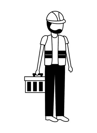 construction worker with toolkit on white background vector illustration  イラスト・ベクター素材
